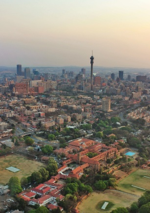 Hillbrow Tower, with St John's College in the front