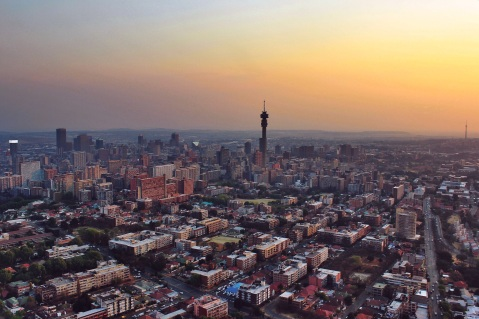 Hillbrow Tower, with the Sentench Tower rising in the back, another famous landmark of the city