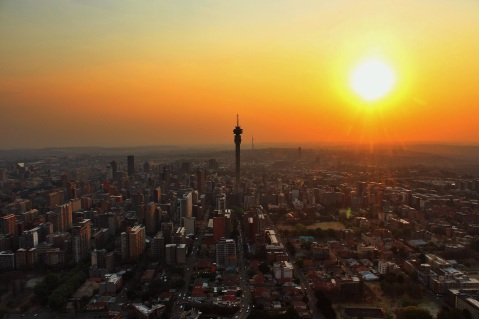 Sunset over Hillbrow's tower