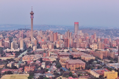 Bird eye's view of Hillbrow, with its clear landmarks: the Hillbrow Tower and Ponte