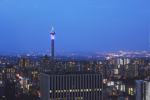 Hillbrow Tower at night, from the Carlton Center