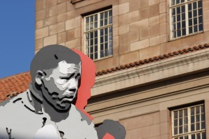 Nelson Mandela's shadow boxer statue, behind the Johannesburg Magistrate's Court building