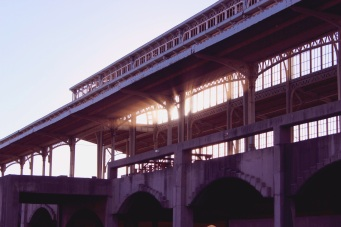 The  winter sun setting behind the 154-meters iron canopy